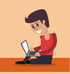 Color background of man sitting working in laptop vector