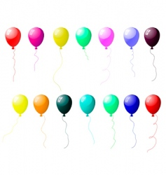 colourful balloons set with glare vector image