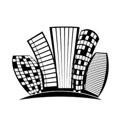 contour buildings line sticker design vector image