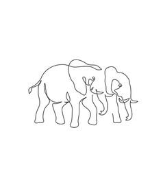 Couple elephants walking one line art drawing vector