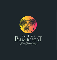 Creative palm resort logodesign for tropical vector