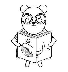 Cute bear panda reading book whale vector