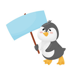 Cute penguin holding blank banner sign vector