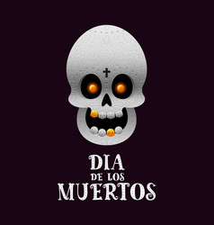 day of the dead poster with skull on dark vector image
