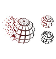 destructed pixel halftone abstract sphere grid vector image