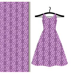 Dress fabric with purple geometric pattern vector
