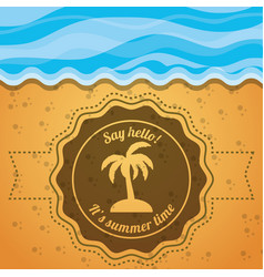 emblem of a palm over the sand and sea vector image