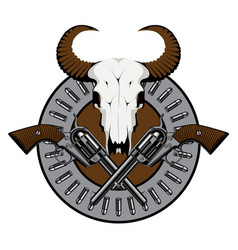 Emblem with two old revolvers bullets and skull vector