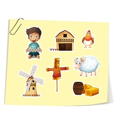 Farm set with boy and farm objects vector image vector image