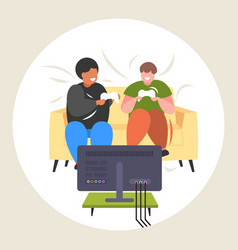 fat obese men sitting on couch using joystick game vector image