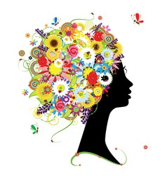 Female profile silhouette floral hairstyle vector