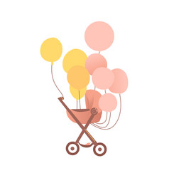 Flat bastroller carriage pram isolated vector