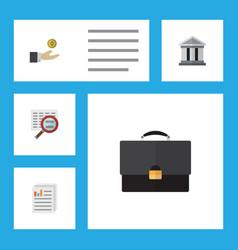 Flat icon finance set of portfolio document scan vector