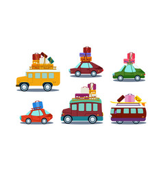 flat set of colorful automobiles with vector image