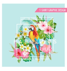 Floral Graphic Design - Tropical Flowers and Bird vector