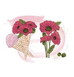 Floral poppy ice cream clip arts color vector