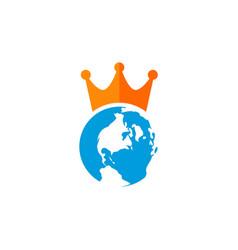 globe earth king logo vector image