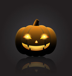 halloween pumpkin with happy face on dark vector image