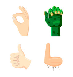 hand icon set cartoon style vector image