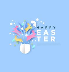 happy easter paper cut web template rabbit egg vector image