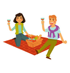 Husband and wife on picnic with basket food vector