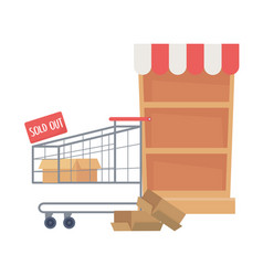 Isolated shopping shelf and cart design vector