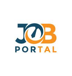 Job portal lettering logo design template concept vector