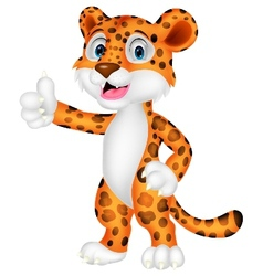 Leopard cartoon with thumb up vector