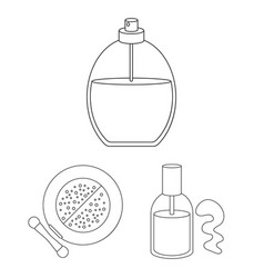 makeup and cosmetics outline icons in set vector image