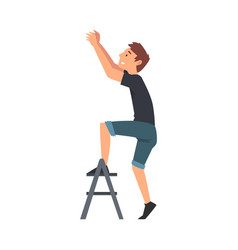 man standing on a step ladder and changing light vector image