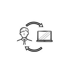 man studying online on computer hand drawn icon vector image