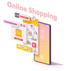 mobile online shopping app concept vector image