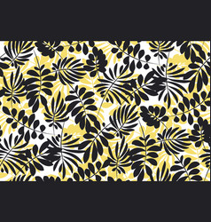 Modern plant pattern yellow and black tropical vector