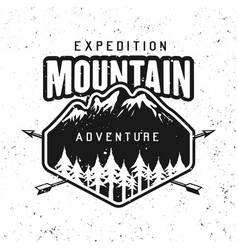 mountains adventure black round badge vector image