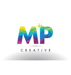 Mp m p colorful letter origami triangles design vector
