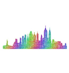 New York City skyline - multicolor line art vector