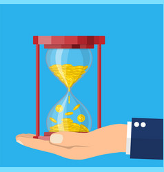 old style hourglass clocks with dollar coins vector image