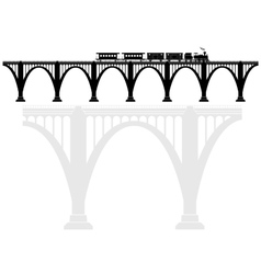 Openwork arch concrete bridge with a steam vector image