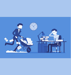 Overworked in the office vector
