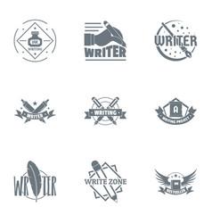 Pen logo set simple style vector