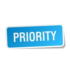 Priority blue square sticker isolated on white vector