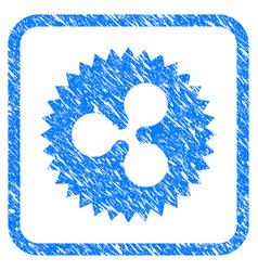 ripple insignia stamp framed stamp vector image