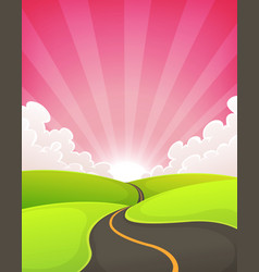 Road snaking inside dawn landscape vector