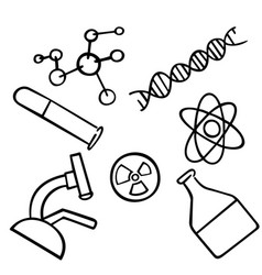 science icons set chemistry vector image