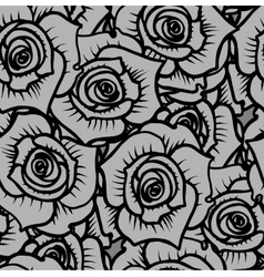 seamless pattern gray graphic quality roses vector image
