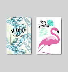 set enjoy summer flamingo badge isolated vector image