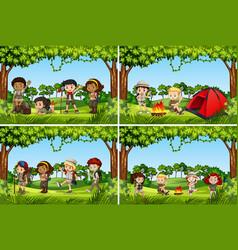 Set of camping kids vector