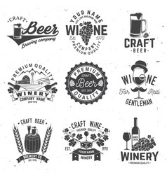Set of craft beer and winery company badge sign vector