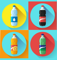 Set of pictures plastic bottle of coca cola vector