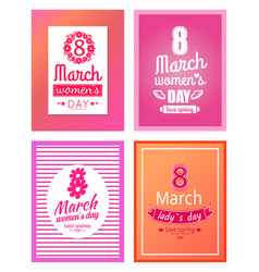 Set of posters dedicated to 8 march best wishes vector